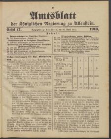 Amtsblatt der Königlichen Regierung zu Allenstein, 1913 Jg. 9, Stück 17 + 2 Sonder-Beilage, Sonderbeilage
