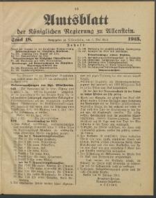 Amtsblatt der Königlichen Regierung zu Allenstein, 1913 Jg. 9, Stück 18