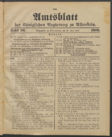 Amtsblatt der Königlichen Regierung zu Allenstein, 1913 Jg. 9, Stück 26 + Sonderbeilage