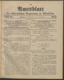 Amtsblatt der Königlichen Regierung zu Allenstein, 1913 Jg. 9, Stück 27