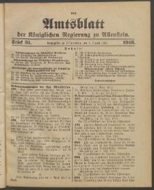Amtsblatt der Königlichen Regierung zu Allenstein, 1913 Jg. 9, Stück 31