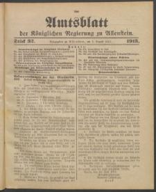 Amtsblatt der Königlichen Regierung zu Allenstein, 1913 Jg. 9, Stück 32