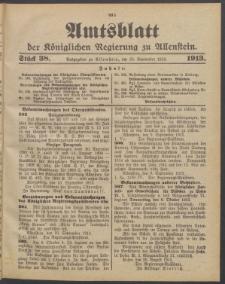 Amtsblatt der Königlichen Regierung zu Allenstein, 1913 Jg. 9, Stück 38