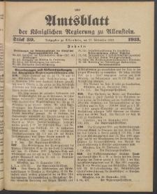 Amtsblatt der Königlichen Regierung zu Allenstein, 1913 Jg. 9, Stück 39