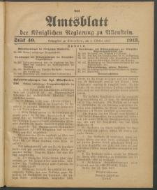 Amtsblatt der Königlichen Regierung zu Allenstein, 1913 Jg. 9, Stück 40
