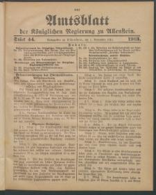 Amtsblatt der Königlichen Regierung zu Allenstein, 1913 Jg. 9, Stück 44 + Sonderbeilage