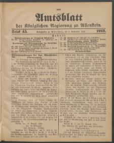 Amtsblatt der Königlichen Regierung zu Allenstein, 1913 Jg. 9, Stück 45 + Extrablatt