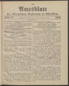 Amtsblatt der Königlichen Regierung zu Allenstein, 1913 Jg. 9, Stück 47 + 3 Extrablatt