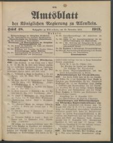 Amtsblatt der Königlichen Regierung zu Allenstein, 1913 Jg. 9, Stück 48 + 2 Extrablatt