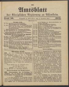 Amtsblatt der Königlichen Regierung zu Allenstein, 1913 Jg. 9, Stück 50 + 3 Extrablatt