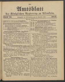 Amtsblatt der Königlichen Regierung zu Allenstein, 1913 Jg. 9, Stück 51 + 3 Extrablatt, Sonderbeilage