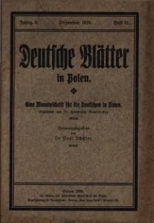 Deutsche Blätter in Polen, 1929 Jg. 6, Heft 12