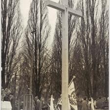 [Poświęcenie sztandaru Solidarności Rominckiego Kombinatu Rolnego na placu Zwycięstwa w Gołdapi. 26.04.1981 r. 9]