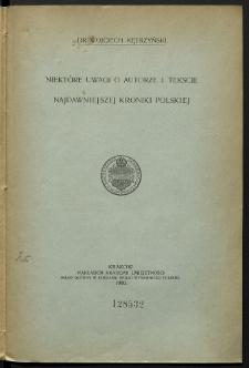 Niektóre uwagi o autorze i tekście najdawniejszej kroniki polskiej