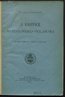 O Kronice węgiersko-polskiej (Vita Sancti Stephani, regis Ungariae, ungrico-polona)