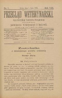 Przegląd Weterynarski : organ Galicyjskiego Towarzystwa Weterynarskiego : czasopismo poświęcone weterynaryi i hodowli, 1893 R. 8, nr 7