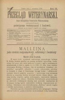 Przegląd Weterynarski : organ Galicyjskiego Towarzystwa Weterynarskiego : czasopismo poświęcone weterynaryi i hodowli, 1894 R. 9 nr 8 [właściwie 9]
