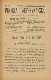 Przegląd Weterynarski : organ Galicyjskiego Towarzystwa Weterynarskiego : czasopismo poświęcone weterynaryi i hodowli, 1895 R. 10, nr 4