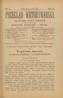 Przegląd Weterynarski : organ Galicyjskiego Towarzystwa Weterynarskiego : czasopismo poświęcone weterynaryi i hodowli, 1895 R. 10, nr 5
