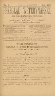 Przegląd Weterynarski : organ Galicyjskiego Towarzystwa Weterynarskiego : czasopismo poświęcone weterynaryi i hodowli, 1904 R. 19, nr 2