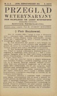 Przegląd Weterynaryjny : organ Małopolskiego Towarzystwa Lekarzy Weterynaryjnych : miesięcznik poświęcony medycynie weterynaryjnej, 1924 R. 37, nr 8-9