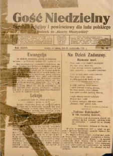 """Gość Niedzielny : tygodnik religijny i powieściowy dla ludu polskiego : dodatek do """"Gazety Olsztyńskiej"""", 1921 (R. 35), nr 44"""