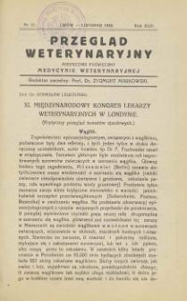 Przegląd Weterynaryjny : miesięcznik poświęcony medycynie weterynaryjnej, 1930 R. 43, nr 11