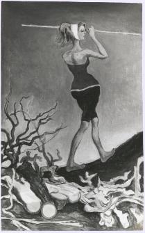 [Kobieta w kostiumie przy kłodach drewna]