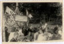 [Pielgrzymi przy kapliczce podczas obchodów 70-tej rocznicy Objawień w Gietrzwałdzie. 3]