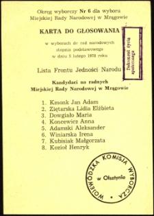 Karta do głosowania w wyborach do rad narodowych. [2]