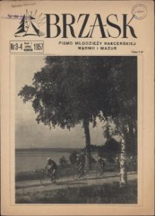 Brzask : pismo młodzieży harcerskiej Warmii i Mazur, 1957 (R. 1), nr 3/4