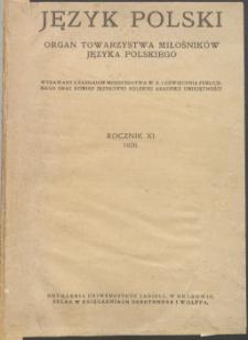 Język Polski, 1926, Rocznik XI