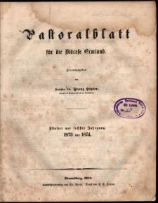 Pastoralblatt für die Diözese Ermland : fünfter und sechster Jahrgang 1873 und 1874