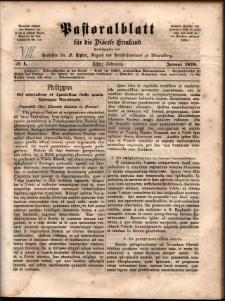 Pastoralblatt für die Diözese Ermland, 1876, nr 1