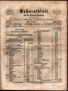 Pastoralblatt für die Diözese Ermland, 1876, nr 4