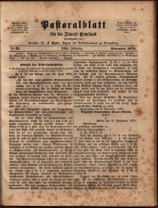 Pastoralblatt für die Diözese Ermland, 1876, nr 11