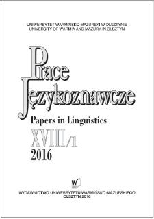Prace Językoznawcze XVIII/1, 2016