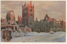 Hauptstraße mit der zerstörten Kirche in Lyck. Ostpreußenwährend des Weltkrieges 1914/15 nach Originalen von A. Kraska