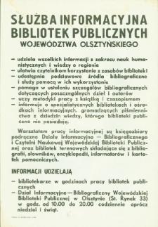Służba informacyjna bibliotek publicznych województwa olsztyńskiego