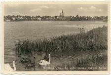 Ortelsburg, Ostpr. - Am großen Haussee, Blick zum Rathaus