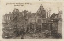 Zerschossene Ortschaft bei Ortelsburg (Ostpreussen.)