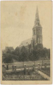 Die russischen Verwüstungen i. Ostpreussen. Die beschädigte Kath. Kirche in Lyck